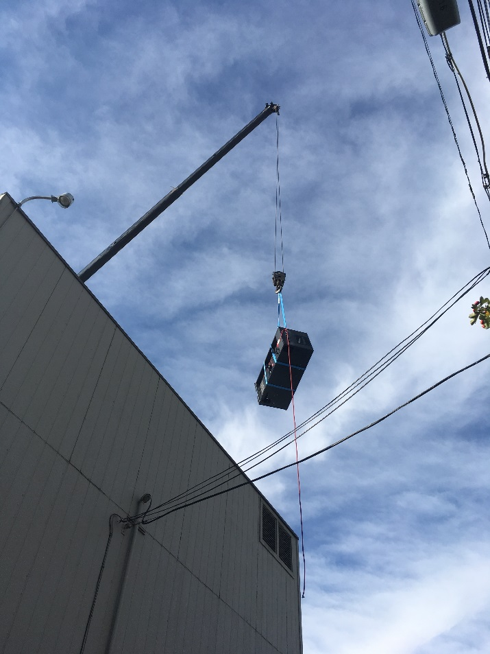 critical power moving equipment by crane