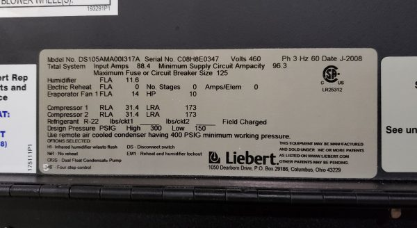 30 Ton Liebert Air Conditioners - DS105AMA00