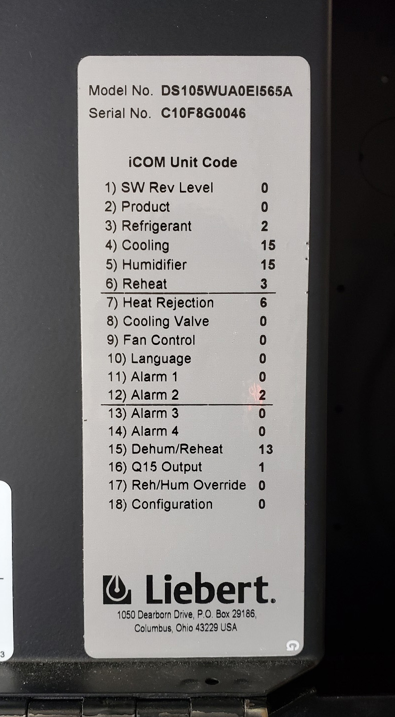 30 Ton Liebert Air Conditioner ICOM Unit Code