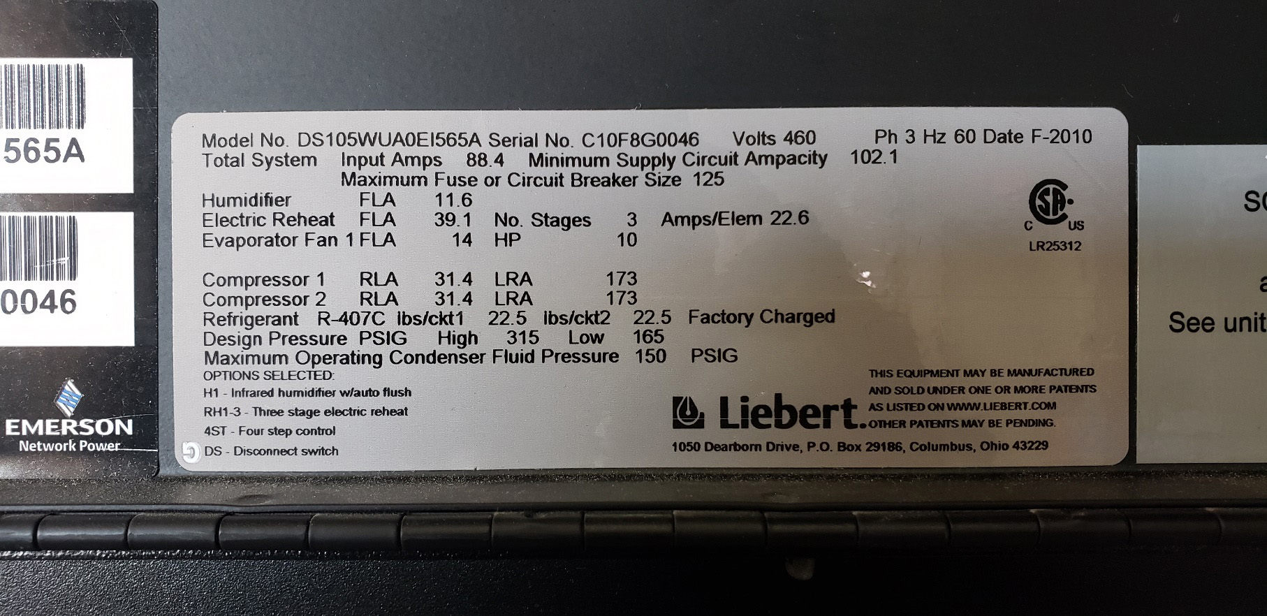 30 Ton Liebert Air Conditioner data tag