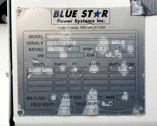 35 kW Blue Star Power Systems JD40-03 Mobile Generator